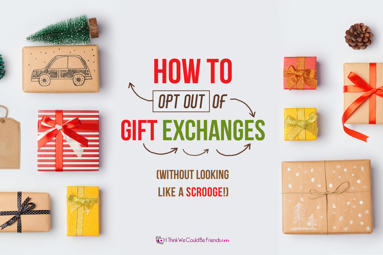 GREAT advice on how to opt out of gift exchanges at work, with friends or family! Reduce STRESS this Christmas- getting out of extra gift exchanges! #Opt #Out #Christmas #Gift #Exchanges
