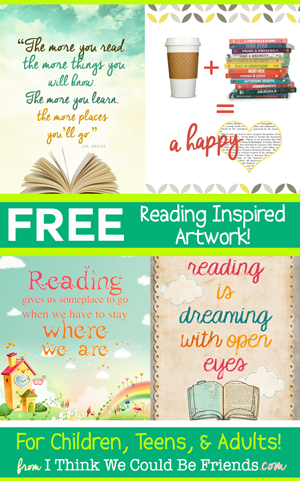 8 FREE Reading Inspired Art Prints!