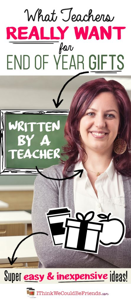 """End of year teacher gift ideas: Looking for the perfect gift to say """"thank you"""" to your child's teacher? Teacher (and mom) Beth shares EASY (& CHEAP) teacher gift ideas for preschool, kindergarten, elementary school and up (NO DIY or crafting supplies required! ;) #teacher #gift #ideas #end #of #school #year #DIY #easy #cheap"""