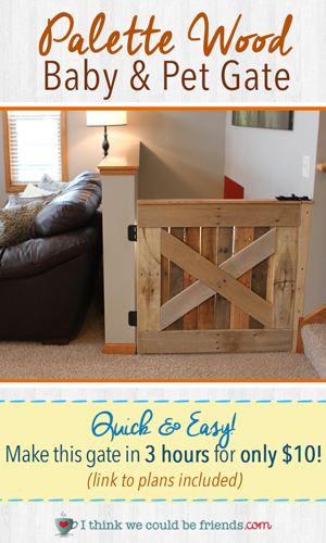 Build this Palette Wood Baby & Pet Gate in 3 hours (plans included!) #palette #wood #projects #DIY #babygate