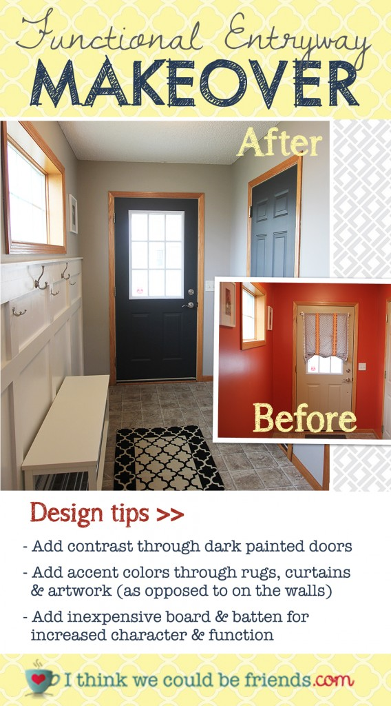 Functional entryway makeover with board and batten and dark contrasting doors.