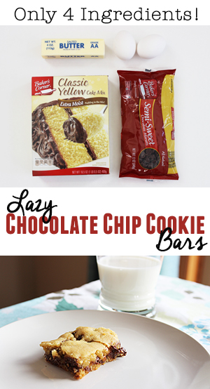 Only 4 ingredients and no measuring! Quick and easy dessert recipe! #chocolate #chip #cookie #bars #dessert #easy #quick #mix #cakemix #fast #simple