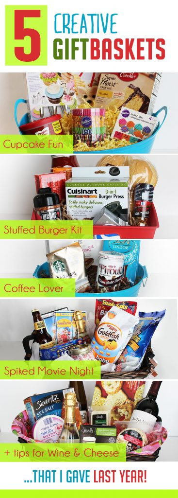 I love these ideas for Christmas gift baskets--especially the Cupcake and Stuffed Burger themed ones! #christmas #gift #basket #ideas #DIY