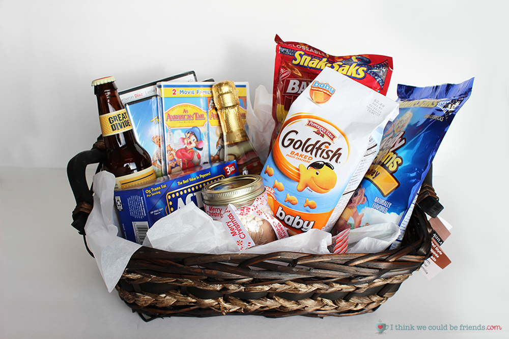 5 creative diy christmas gift basket ideas for friends family office 5 creative gift baskets a movie night basket means fun for the whole family negle Images