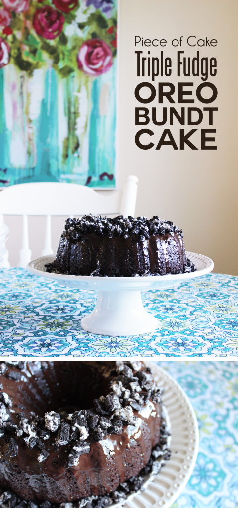 This triple fudge oreo bundt cake recipe is INCREDIBLY decadent and moist--you would never know it begins with a boxed cake mix! It comes together in ten minutes but tastes better than anything you'd get at the bakery!