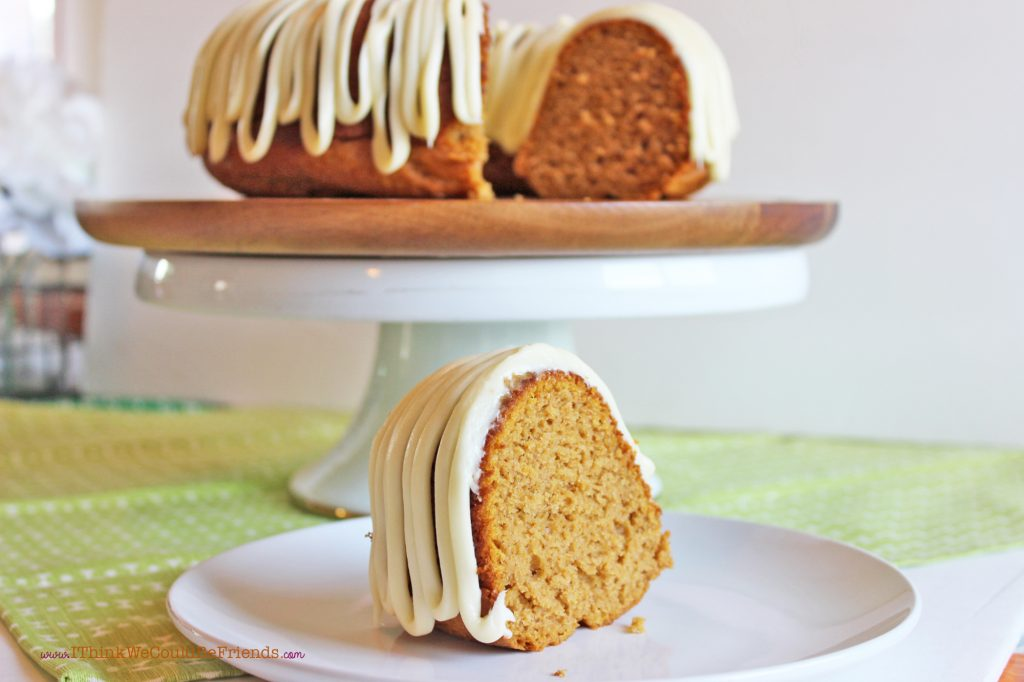 This Pumpkin Bundt Cake is incredibly MOIST and FLAVORFUL! Oh, and its EASY, too! It starts with a pumpkin spice cake mix and then you add pumpkin, sour cream and pudding--its AWESOME!!! #pumpkin #bundt #cake #recipe #mix #easy