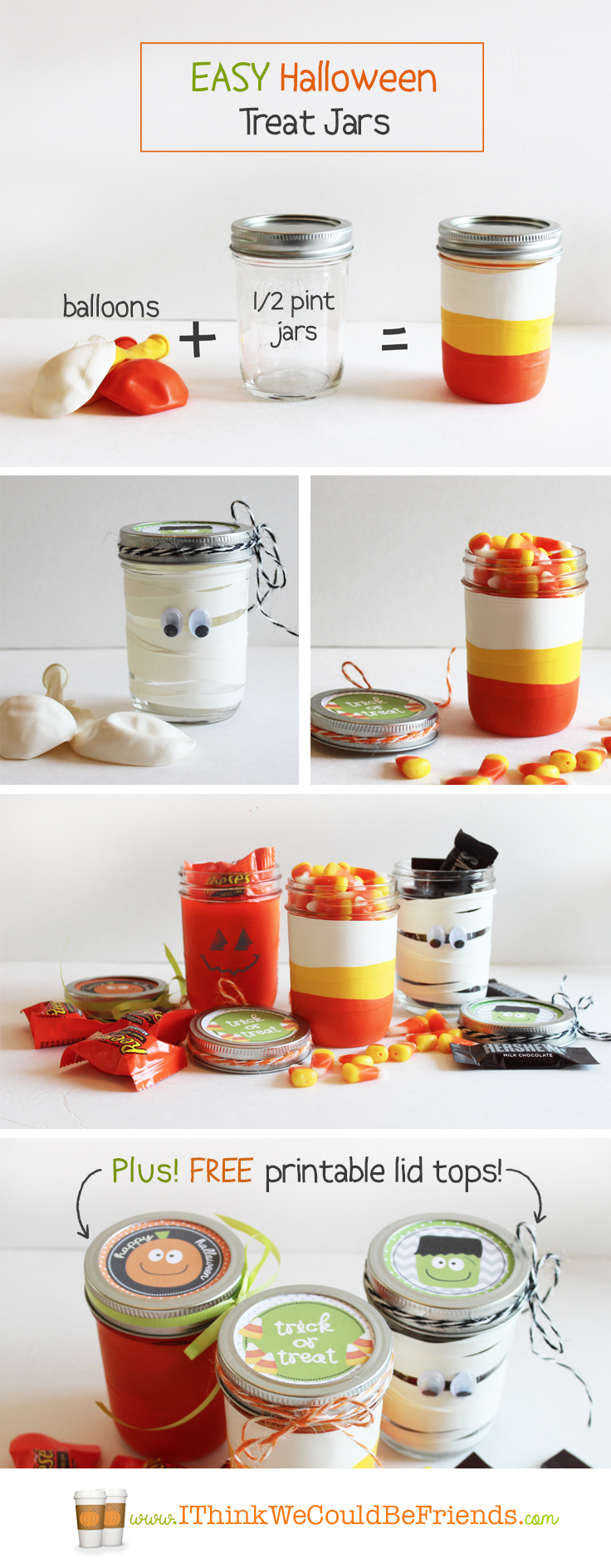 Easy Halloween Treat Jars: Just cut the tops & bottoms off of balloons & stretch over mason jars for cute Halloween treat jars! Plus FREE printable toppers!