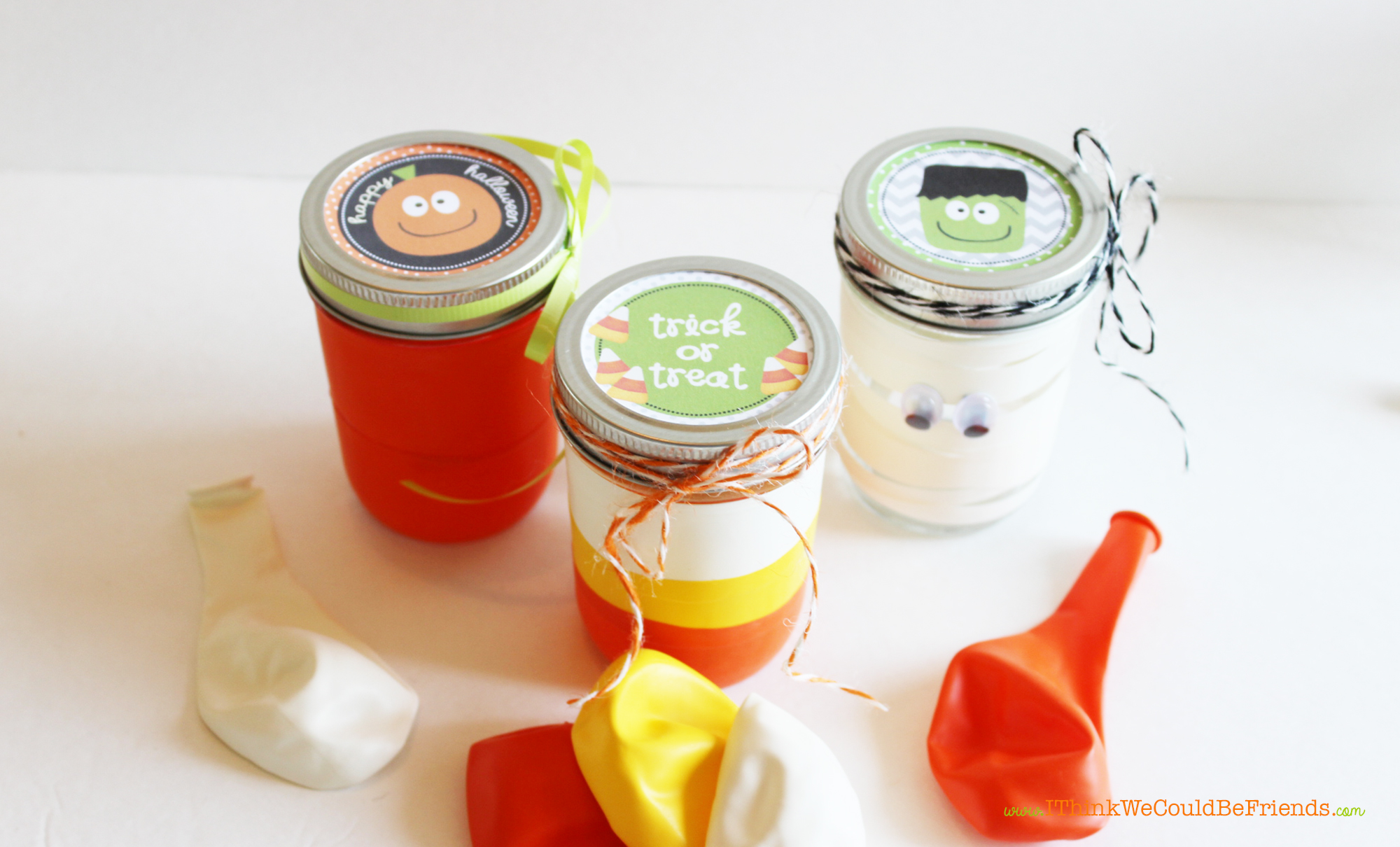 Fun & Easy Halloween craft, these Halloween mason treat jars come together quickly with cut up balloons! Plus, free Halloween mason jar toppers printable!
