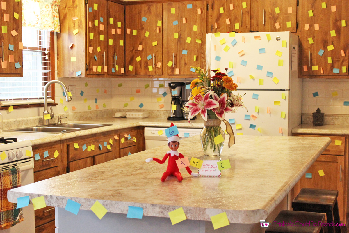 55 new elf on the shelf ideas 6 post it note game. Black Bedroom Furniture Sets. Home Design Ideas