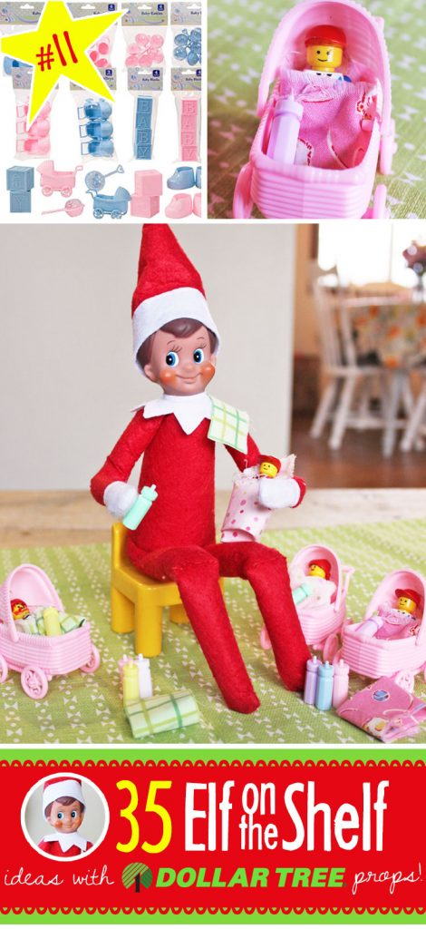 35 BRAND NEW Elf on the Shelf ideas for this year! These fun, creative & EASY ideas all include an item from the Dollar Tree! #Christmas #ElfOnTheShelf #Ideas #Easy #Funny #Toddler #DIY #DollarStore