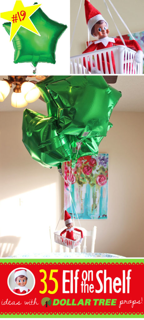 35 brand new creative funny elf on the shelf ideas with for Elf on the shelf balloon ride