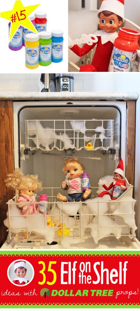35 BRAND NEW Elf on the Shelf ideas for this year! These fun, creative & EASY Elf on the Shelf ideas all include an item from the Dollar Tree! #Christmas #ElfOnTheShelf #Ideas #Easy #Funny #Toddler #DIY #DollarStore