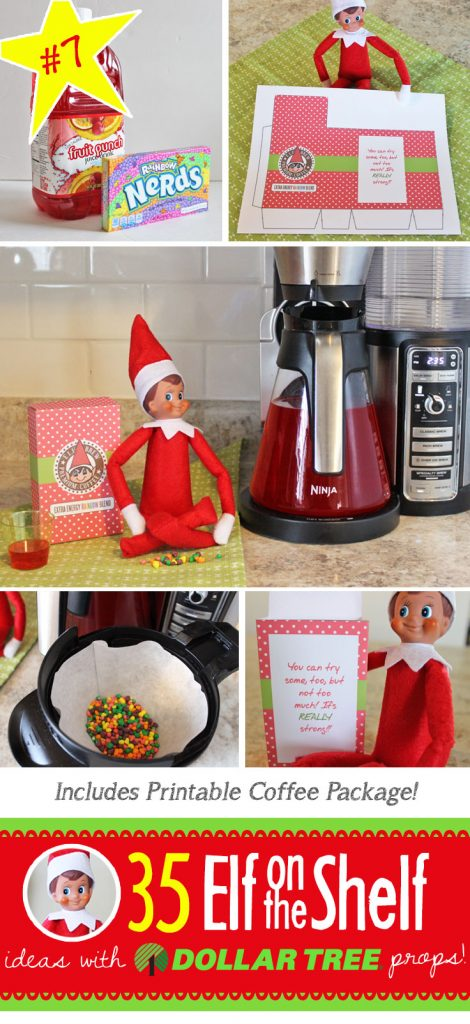 Elf Coffee- so this is what Elf drinks to keep his energy up! And 55+ NEW Elf on the Shelf ideas for this year!! These fun, creative & EASY Elf on the Shelf ideas all include an item from the Dollar Tree! #Christmas #ElfOnTheShelf #Ideas #Easy #Funny #Toddler #DIY #DollarStore