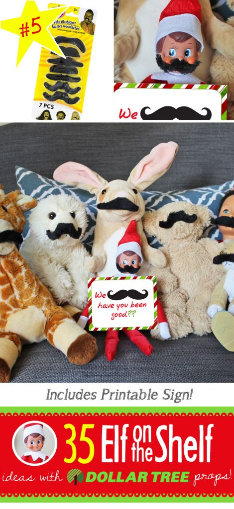 35 ALL NEW Elf on the Shelf ideas for this year!! These fun, creative & EASY ideas all include an item from the Dollar Tree! #Christmas #ElfOnTheShelf #Ideas #Easy #Funny #Toddler #DIY #DollarStore