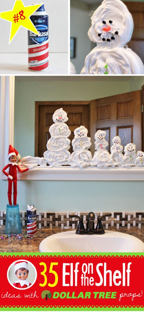 Shaving cream snowmen (one for each member of your family!) and 55+ NEW Elf on the Shelf ideas (and growing!!!) Each funny and clever, each with a Dollar Tree prop and many with free printables!! Your toddler through teens will LOVE these Elf on the Shelf ideas!! #elfontheshelf #ideas #easy #funny #toddler #free #printable