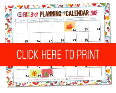 Free Printable Elf On The Shelf Planning Calendar For 2018