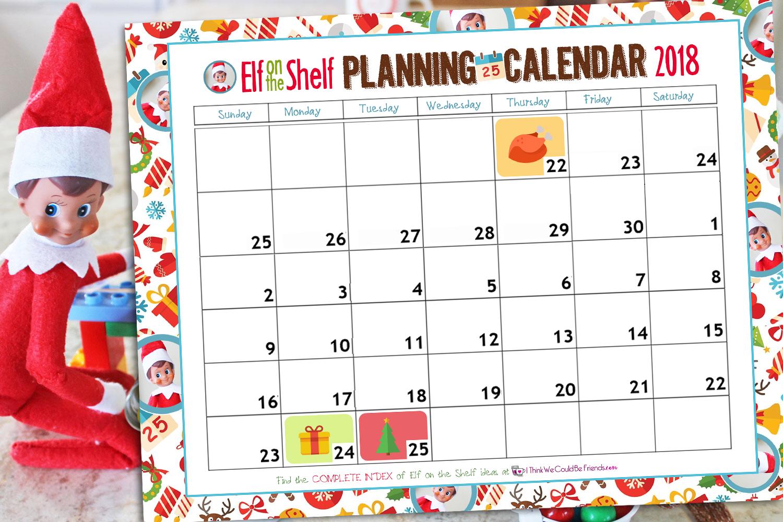 free printable elf on the shelf planning calendar for 2018