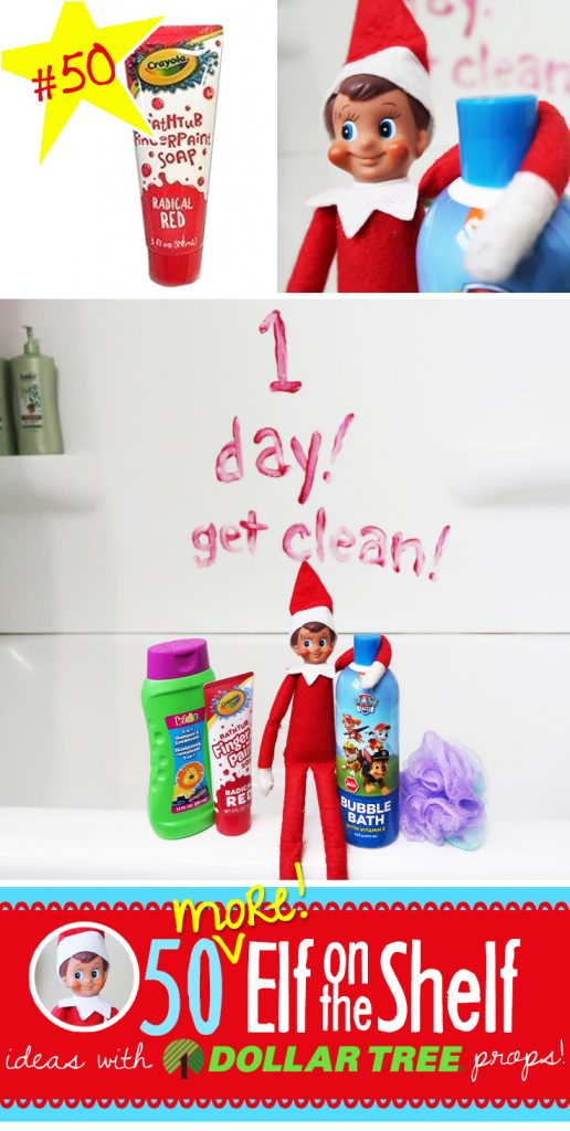 Tub Paint Count down and 55+ NEW ideas with Dollar Tree props!! We've expanded our popular post with even MORE ideas!! #elfontheshelf #ideas #easy #quick #funny