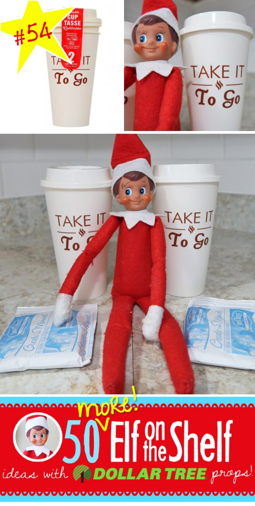 Elf on the Shelf brought cups so that you can take Hot Chocolate with you this morning, how thoughtful!! Find 55+ more Elf on the Shelf ideas here, many with free printables and all NEW!!! #elfontheshelf #ideas #quick #easy