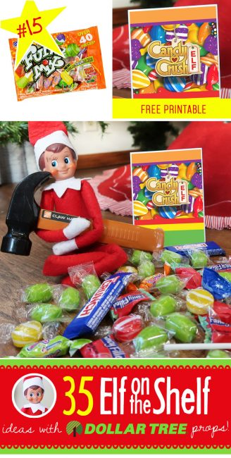 New Elf on the Shelf idea! Your toddlers through teens will love the Candy Crush idea! It even includes a free printable! Plus 0ver 55 (and growing!) NEW ideas for this year!! #elfontheshelf #ideas #easy #funny #quick #free #printable