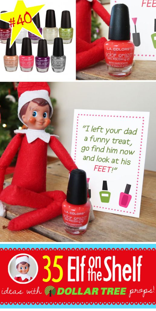 Elf on the Shelf Nail Polish Prank-- FUN and EASY! Plus, 55+ NEW Elf on the Shelf ideas (and growing!!!) Each funny and clever, each with a Dollar Tree prop and many with free printables!! Your toddler through teens will LOVE these Elf on the Shelf ideas!! #elfontheshelf #ideas #easy #funny #toddler