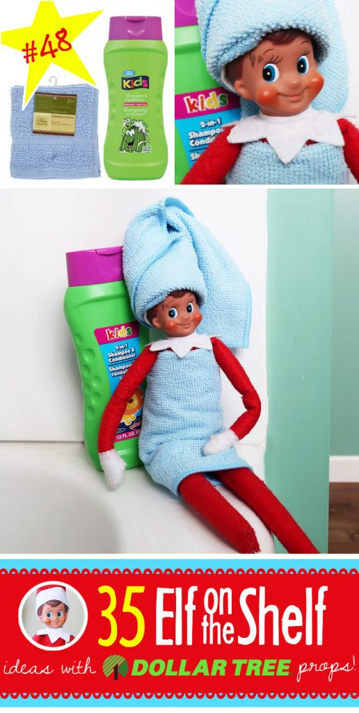 50+ BRAND NEW Elf on the Shelf ideas for this year! These funny, creative & EASY Elf on the Shelf ideas all include an item from the Dollar Tree! #Christmas #ElfOnTheShelf #Ideas #Easy #Funny #Toddler #DIY #Boys #New