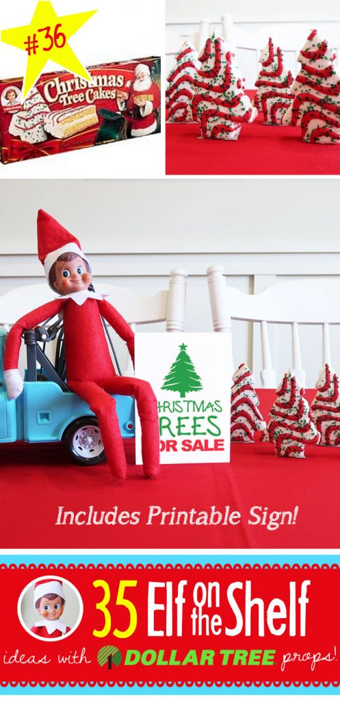 Christmas Trees for sale! And 55+ New Elf on the Shelf Ideas, each with a Dollar Tree prop and many with Free Printables (like this one!) #elfontheshelf #ideas #easy #funny #freeprintable
