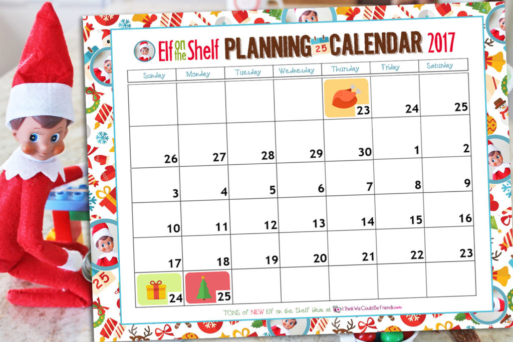 Free Printable Elf on the Shelf Planning Calendar 2017...a great place to organize all of your Elf on the Shelf ideas!