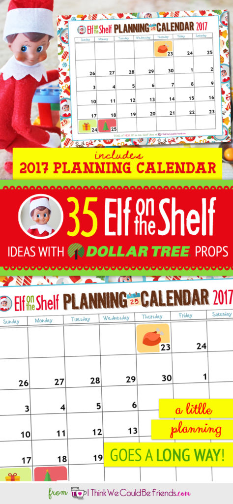 free printable elf on the shelf planning calendar for 2017 i think we could be friends. Black Bedroom Furniture Sets. Home Design Ideas