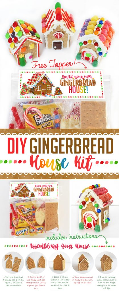 DIY Gingerbread House Decorating Kit! Includes gingerbread house materials, decorations, Gingerbread House ideas and a free printable topper! Each kit makes two graham cracker gingerbread houses and costs less than $2 to put together! Great party idea or give them out to friends & family! #gingerbread #house #kit #ideas #decorations #party #christmas