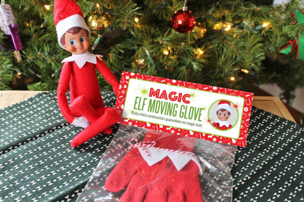 DIY Magic Elf Moving Glove, how to move your Elf on the Shelf if he gets stuck in a poor place! Make this glove in under 5 minutes! Includes printable package, too! #ElfontheShelf #Christmas #Ideas #Easy #Quick #Toddler