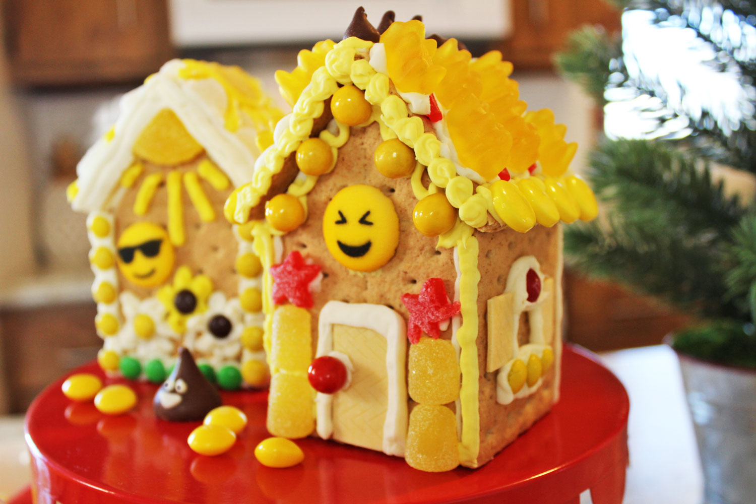 Emoji Birthday Party Idea: Decorate Emoji Gingerbread Houses PLUS DIY Build & Decorate kits!
