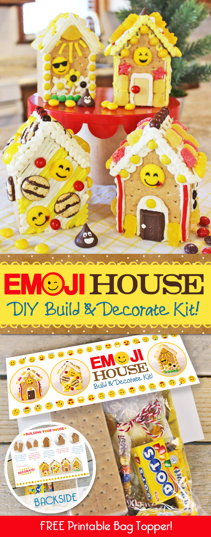 Looking for a fun Emoji Birthday Party idea? Our kids LOVED these Emoji Gingerbread Houses! They're just made from graham crackers and are EASY to make! Also includes a free printable bag topper to make your own Emoji Gingerbread House Build & Decorate kits! #Emoji #Birthday #Party #Ideas #Gingerbread #House #Decorations #Christmas
