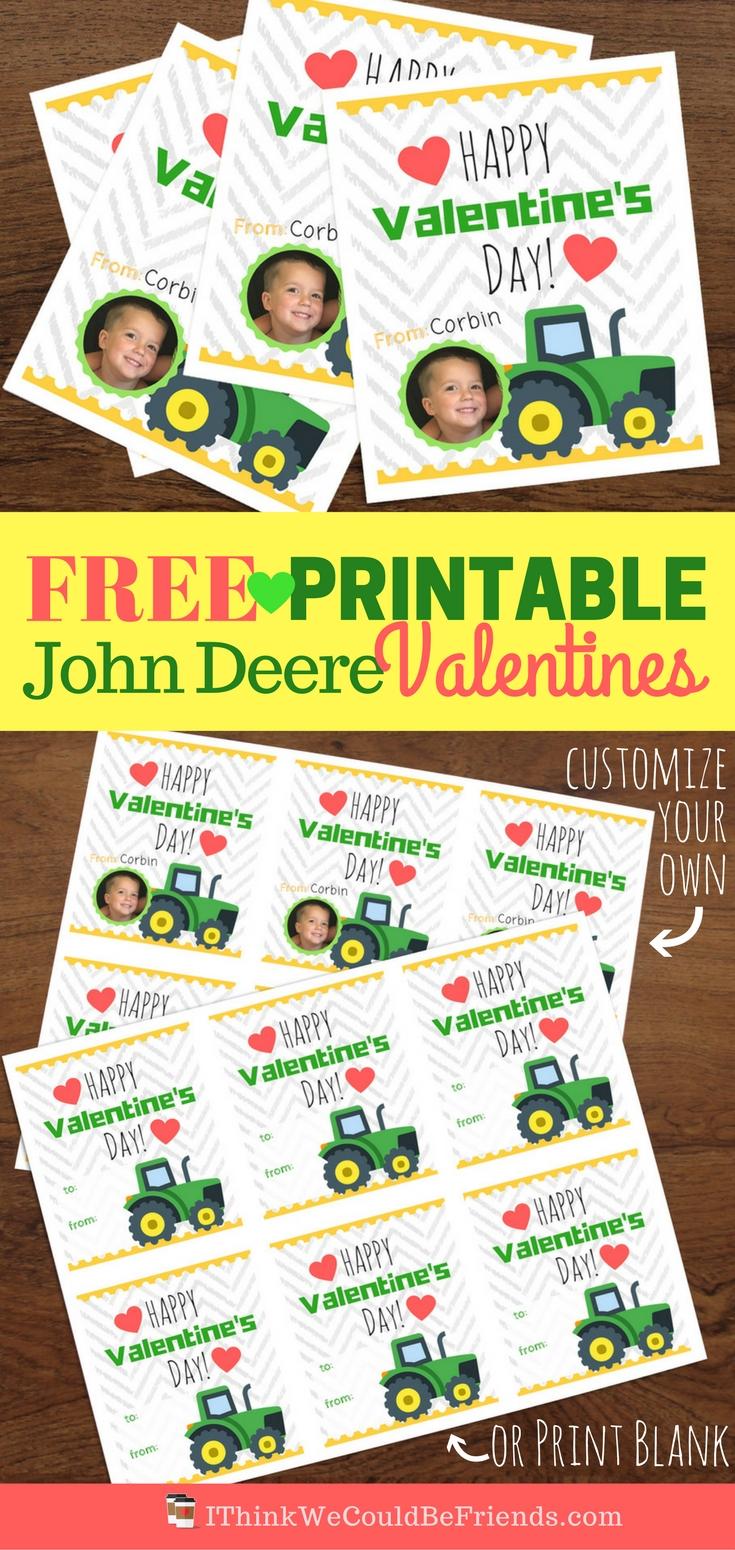 Free Printable John Deere Tractor Valentine 39 S For Boys