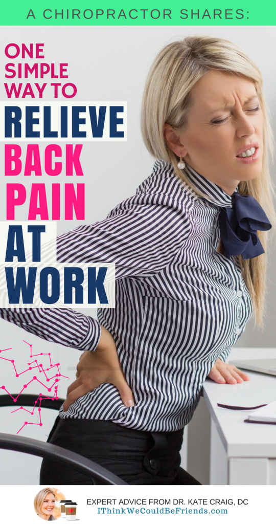 If you sit at a desk for two or more hours a day, this post is for you. We often think of sitting as a relief to low back pain, but what if sitting is the cause for the discomfort? Our bodies aren't designed to be stationary for long periods of time and a simple change to your work day could offer significant relief! #remedy #relieve #low #back #pain #tip #advice #stretches #natural