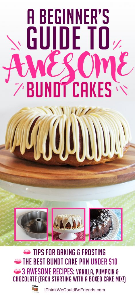 Bundt cakes are actually VERY EASY to make, BUT look so FANCY and GRAND how they sit so tall on a cake stand, AND they're incredibly moist! Here are some tips for AWESOME bundt cakes every time! PLUS, 3 easy recipes that all start from a boxed cake mix but then you add in extra ingredients to make them taste incredible! SO easy, but people will be asking for the recipes! #bundt #cake #easy #best #recipe #vanilla #chocolate #pumpkin #tips #pan #recipes #from #mix