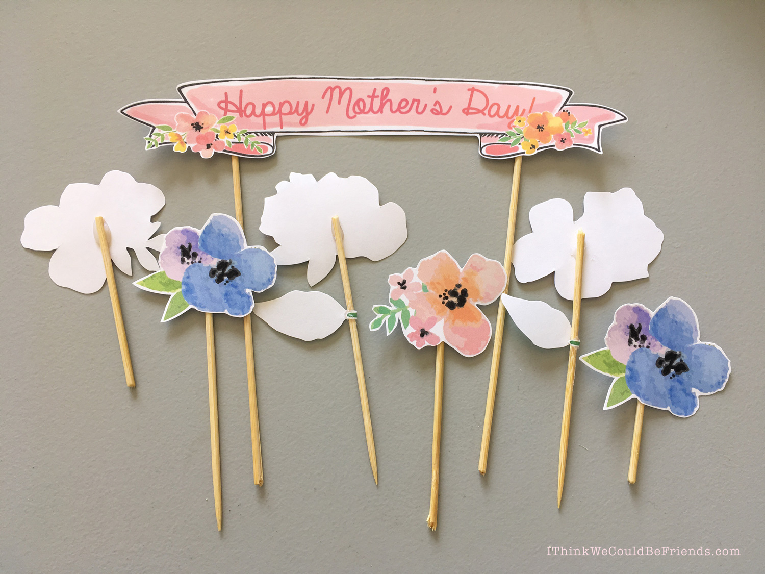 mother s day cake ideas free printable floral cake topper decoration. Black Bedroom Furniture Sets. Home Design Ideas