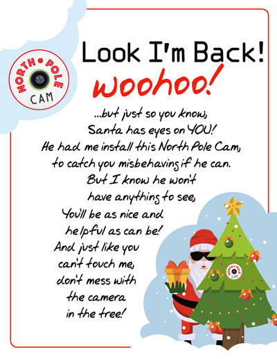 elf on the shelf arrival idea diy northpole cam with a free printable arrival letter