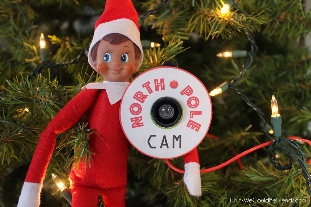 Comes with a coordinating ARRIVAL LETTER, too! This Elf on the Shelf Santa or North Pole cam looks SO REAL! The Dollar Tree lens is a worthwhile investment to convince your kids that Santa is watching! #elfontheshelf #Elf #Shelf #Christmas #Northpole #Cam #Santa #ideas #quick #easy #funny