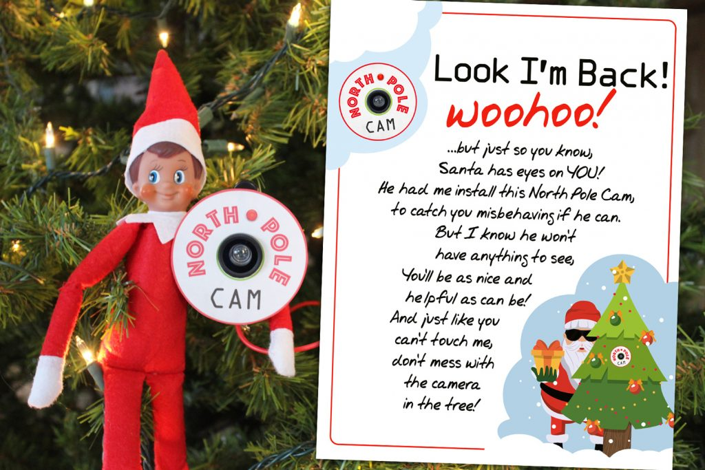 Free Printable Elf on the Shelf Arrival letter with instructions for an easy North Pole Cam!