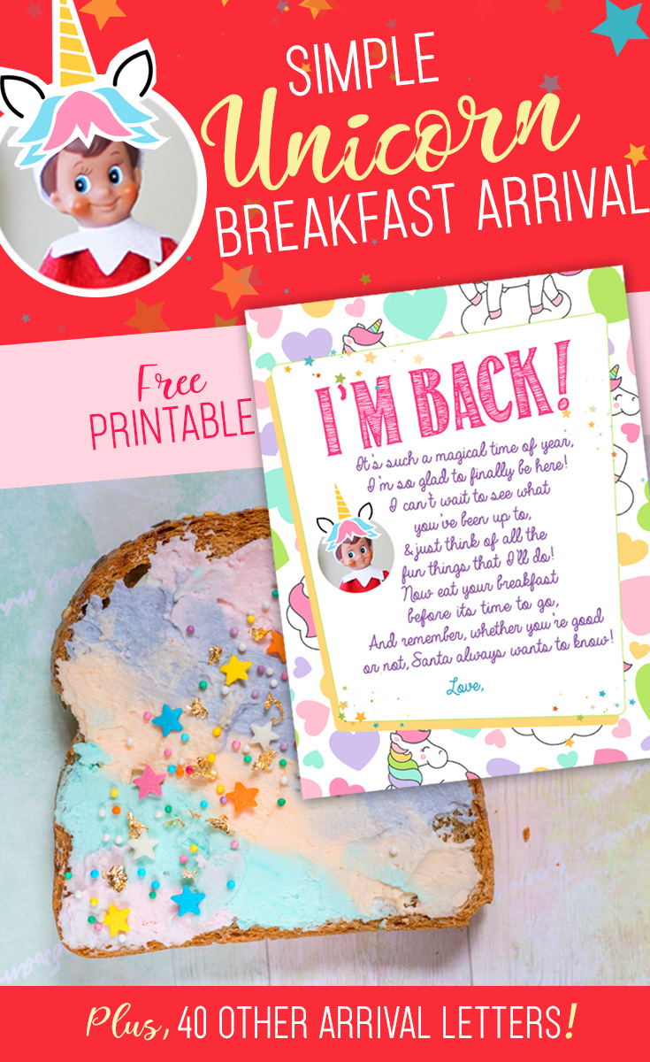 elf on the shelf arrival idea unicorn breakfast with free printable letter this is