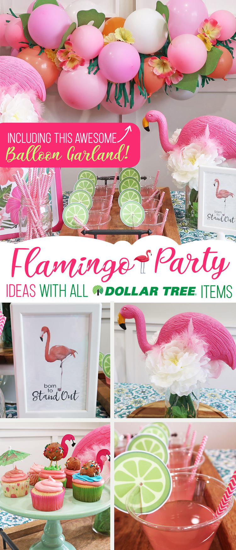 Cheap but TASTEFUL Flamingo Party Decoration Ideas, using ALL items from the Dollar Tree! We hosted a beautiful Flamingo Baby Shower for my sister that didn't break the bank!!! Everyone LOVED the flamingo theme and especially the DIY Tropical Balloon Garland, Flamingo cupcake toppers and FREE printable, too! #flamingo #party #decoration #ideas #cupcake #topper #free #printable #cheap #easy #baby #shower #bridal #kids