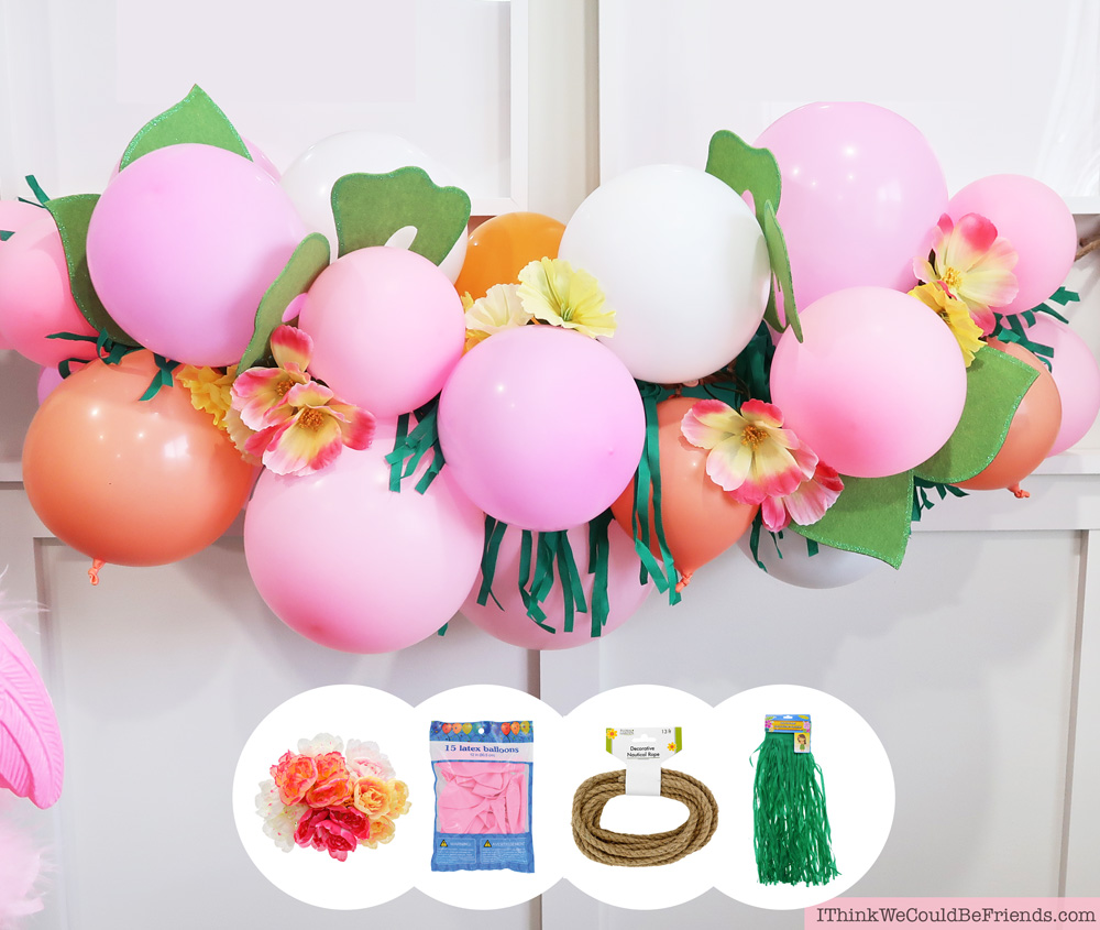 DIY Tropical Balloon Garland Cheap But TASTEFUL Flamingo Party Decoration Ideas Using ALL Items