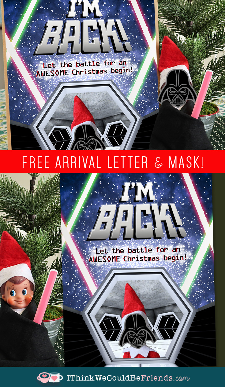 Free printable Elf on the Shelf Star Wars Arrival idea & letter! Your boys will love this arrival idea! And it is super EASY & QUICK!! #elfontheshelf #arrival #ideas #free #printable #letter #easy #DIY #kids #starwars #quick