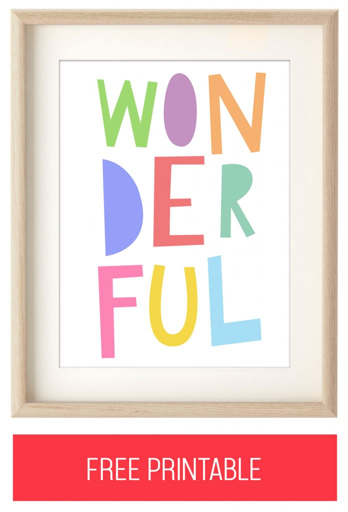 "Free Printable Kids Wall Art: Colorful ""WONDERFUL"" Typography Print"