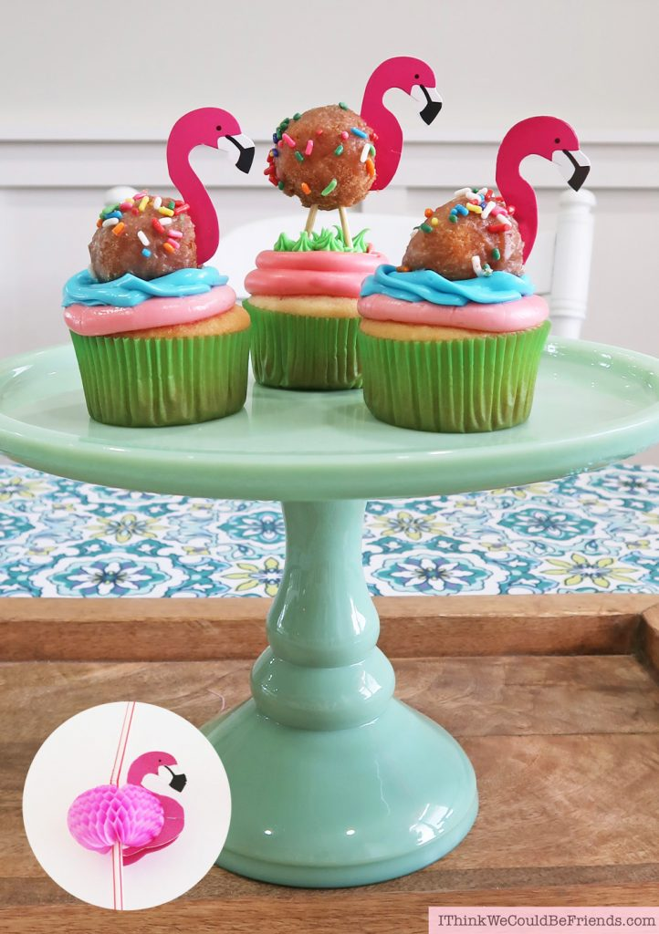 EASY Flamingo Cupcake Topper Idea!!! Cheap but TASTEFUL Flamingo Party Decoration Ideas, using ALL items from the Dollar Tree! #flamingo #cupcake #topper #party #decoration #ideas #free #printable #cheap #easy #baby #shower #bridal #kids