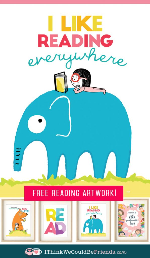 FREE Printable artwork to promote reading with your kids! Colorful quotes and cute pictures for your child's bedroom, nursery, homeschool room or play room! These would also coordinate PERFECTLY for a gallery wall! #free #printable #artwork #wallart #kids #read #reading #bedroom #nursery #playroom #homeschool #gallery #wall #DIY #boys #girls