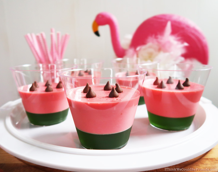 Strawberry Mousse & Lime Jello Dessert Cups