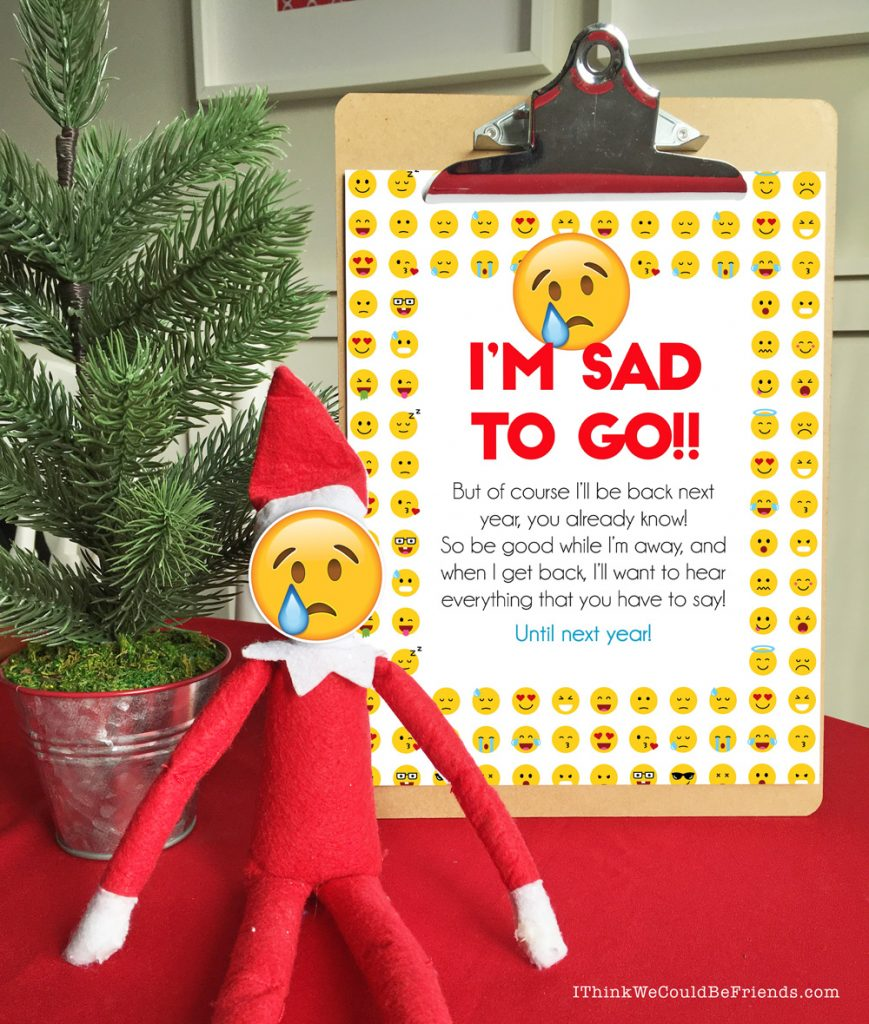 Emoji Departure letter with free printable masks for your Elf on the Shelf and his friends, too! Your kids will love this quick and easy goodbye idea! #elfontheshelf #departure #ideas #easy #free #printable