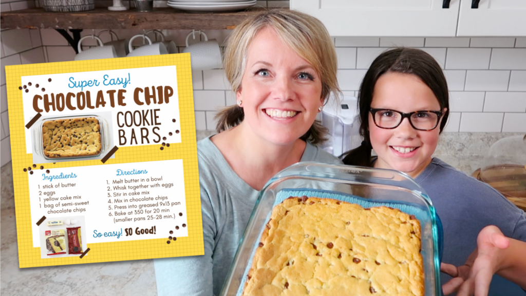 Free Printable Chocolate Chip Cookie Bar Recipe Card